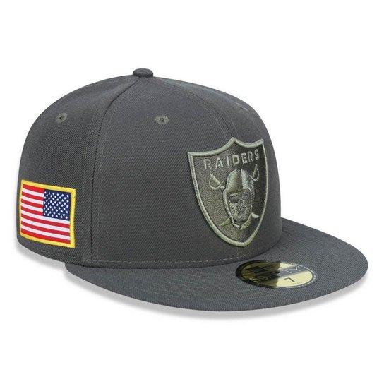 241341952 Boné Oakland Raiders 5950 Salute To Service 17 Fechado - New Era - Cinza