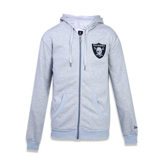 be21f39c7a Moletom Canguru Aberto Oakland Raiders NFL New Era Masculino - Cinza ...