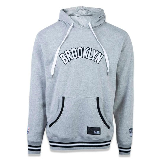 ed76ce9fdd Moletom Canguru Fechado Brooklyn Nets NBA New Era Masculino - Cinza ...