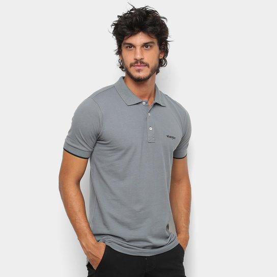Camisa Polo Wrangler Básica Piquet Logo Bordado Masculina - Cinza ... 5c0eef08b0dc2