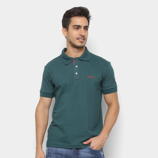 d99a9f77e8 Camisa Polo Wrangler Manga Curta Básica Masculina - Verde escuro ...