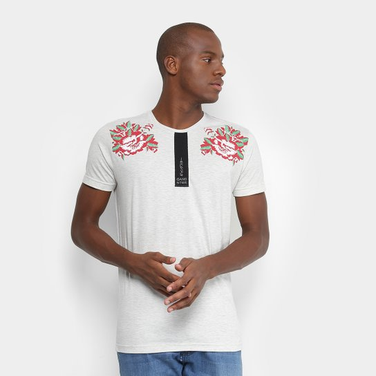 Camiseta Gangster Estampa Flores Masculina - Cinza - Compre Agora ... 4f38b5fe9a