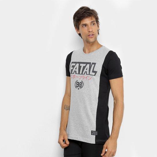 Camiseta Fatal Estampada Recortes Masculina - Cinza e Preto - Compre ... 26a321bff8a