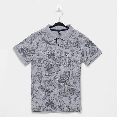 Camisa Polo Infantil Fatal Floral Manga Curta Masculina
