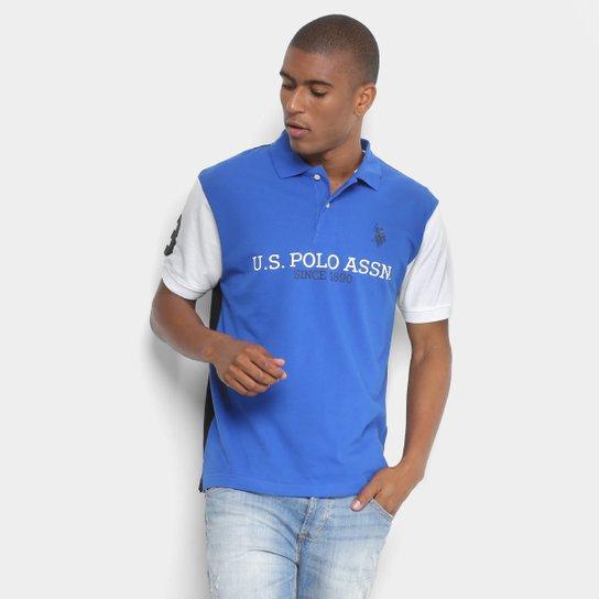 Camisa Polo U.S.Polo Assn Piquet Estampada Masculina - Azul Royal ... c69ba36c293ce