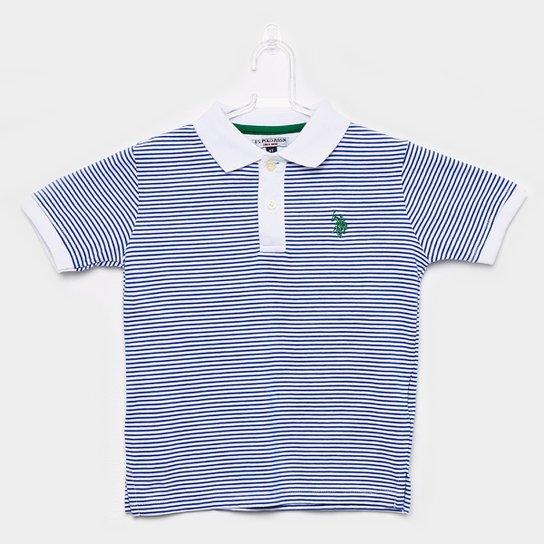 cc83d36080 Camisa Polo Infantil U.S.Polo Assn Listrada Masculina - Azul Royal+Branco