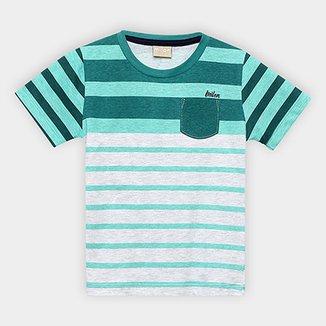 Camiseta Infantil Milon Listrada Bolso Masculina 206b57cecf3