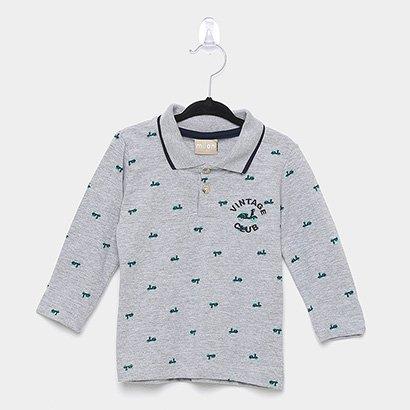 Camisa Polo Infantil Milon Manga Longa Masculina