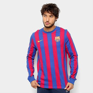 Camiseta Barcelona Retrô Manga Longa Nike Masculina 5ec7c99db20b9