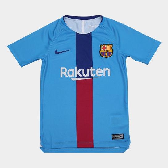 2421f8856b59b Camisa Barcelona Infantil 19 20 Treino Nike - Azul Royal - Compre ...