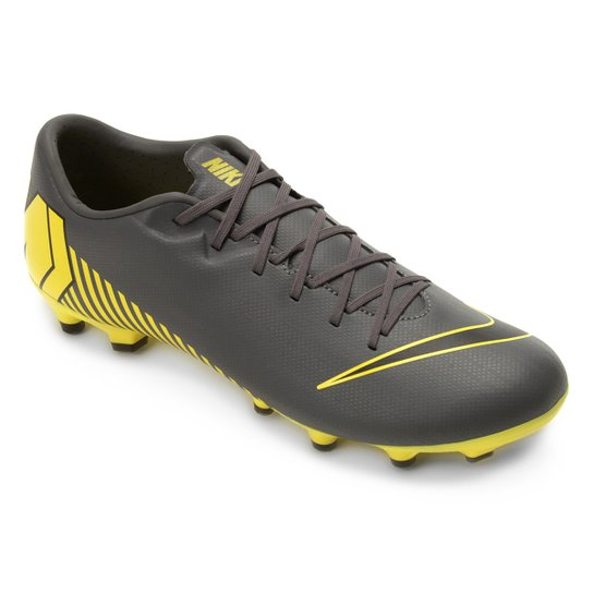 516f2dde8 Chuteira Campo Nike Vapor Mercurial 12 Academy FG - Cinza e Amarelo ...