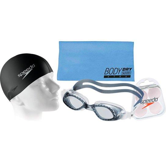 17d347d99 Kit Natação com Óculos Speedo Legend Fumê + Toalha + Protetor + Touca -  Cinza