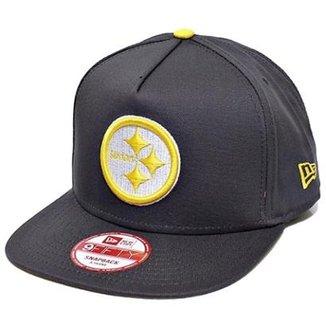2c810037a8513 Boné New Era Aba Reta Snapback Nfl Steelers Flip Up