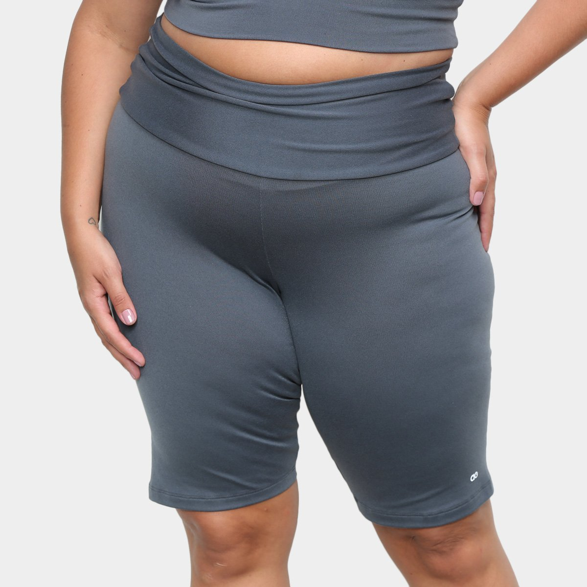 Bermuda Plus Size Alto Giro Supplex Cintura Alta Feminina