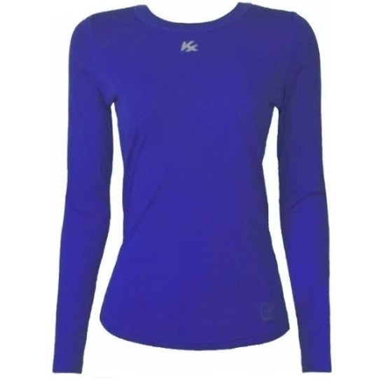 Camisa Térmica Kanxa Baby Look Com Proteção Bactericida E Proteção Solar -  Azul Royal e69be83f953fd