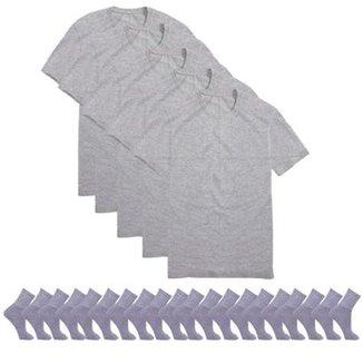 801876ba14 Kit 5 Camisetas Básicas Masculina T-Shirt Algodão + 10 Pares De Meias