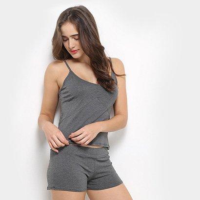 Conjunto Pijama Flora Zuu Básico 3 Peças Feminino