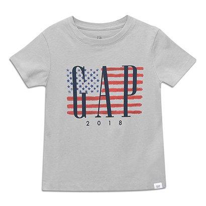 Camiseta Bebê GAP Malha Bandeira EUA Masculina