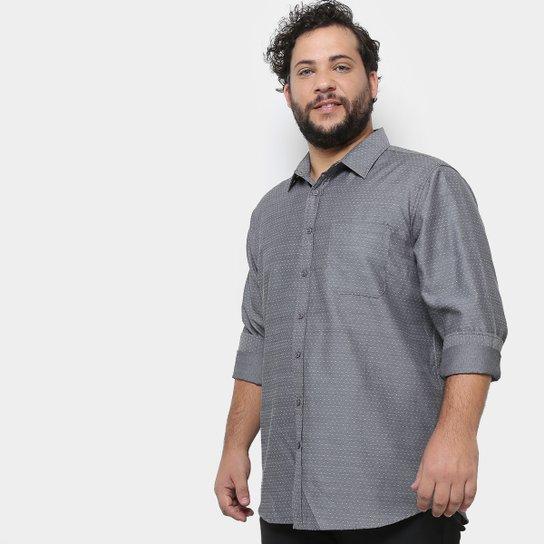 21790e1fb126bb Camisa Social Delkor Plus Size Masculina - Cinza