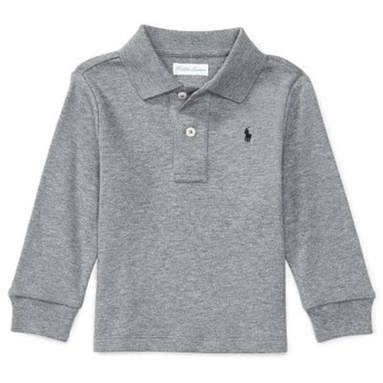 f9cdfa983a8 Camisa Polo Bebê Ralph Lauren Manga Longa Masculina - Cinza - Compre ...
