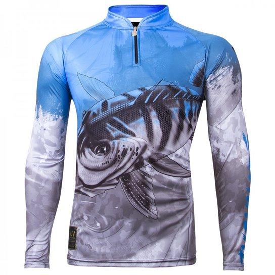 Camiseta Manga Longa Sublimada Masculina King Brasil Proteção UV UFP 30+  Viking - Cinza 3a9f3d109c303