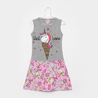 Vestido Infantil For Girl Curto Evasê Estampa Unicórnio