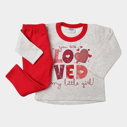 Conjunto Longo Infantil Rovitex Moletom Love Feminino