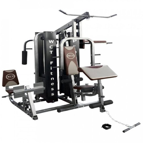 6fb53e381f Multi Estação WCT Fitness Pro-Deluxe Completa Com 204kg Em Anilhas - Cinza