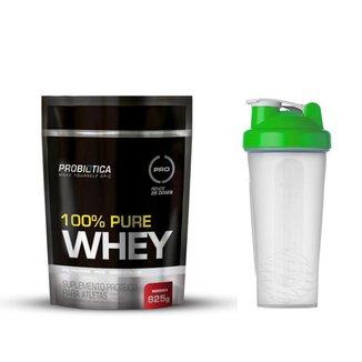 100% Pure Whey Protein 825g Probiotica + Coqueteleira Verde 600ml Simples