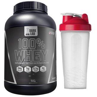 100% Whey 900g Baunilha + Shaker Dark Lab