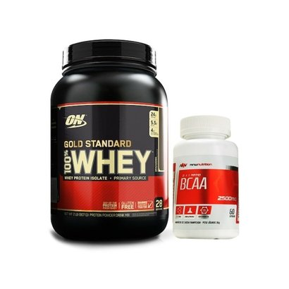 100% Whey Gold Standard 2 Lbs - Optimum Nutrition + BCAA 2500mg 60 cápsulas - MNW Nutrition - Unissex
