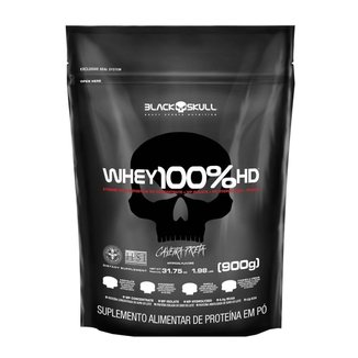 100% Whey HD Morango 900g Refil - Black Skull