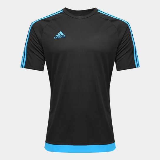 2b001e71e1971 Camisa Adidas Estro 15 Masculina - Preto e Azul Turquesa - Compre ...