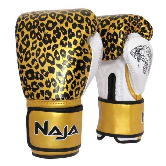 a4ff5fde6 Luva de Boxe   Muay Thai Feminina Naja Animal Print Cobra 10 Oz - Ouro