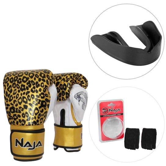 82208b4f5 Kit Luva de Boxe   Muay Thai Naja Feminina Competição Animal Print 10 Oz +  Bandagem