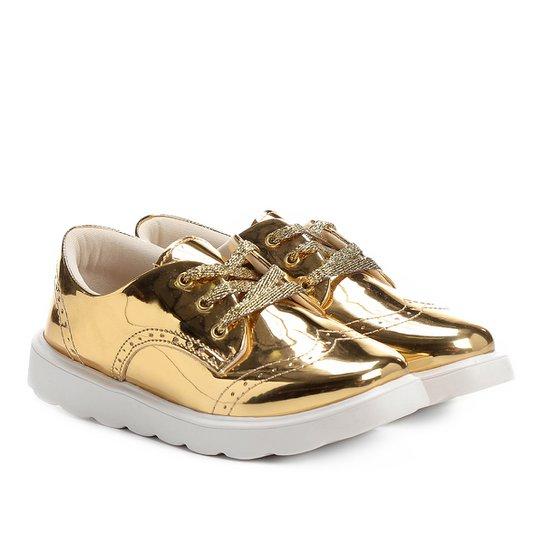 3701dc46a0 Sapato Klassipé Metalizado Infantil - Ouro