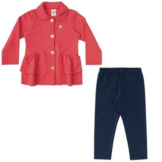 Conjunto Infantil Boca Grande Casaco e Legging Feminina 5fca4a66524fe