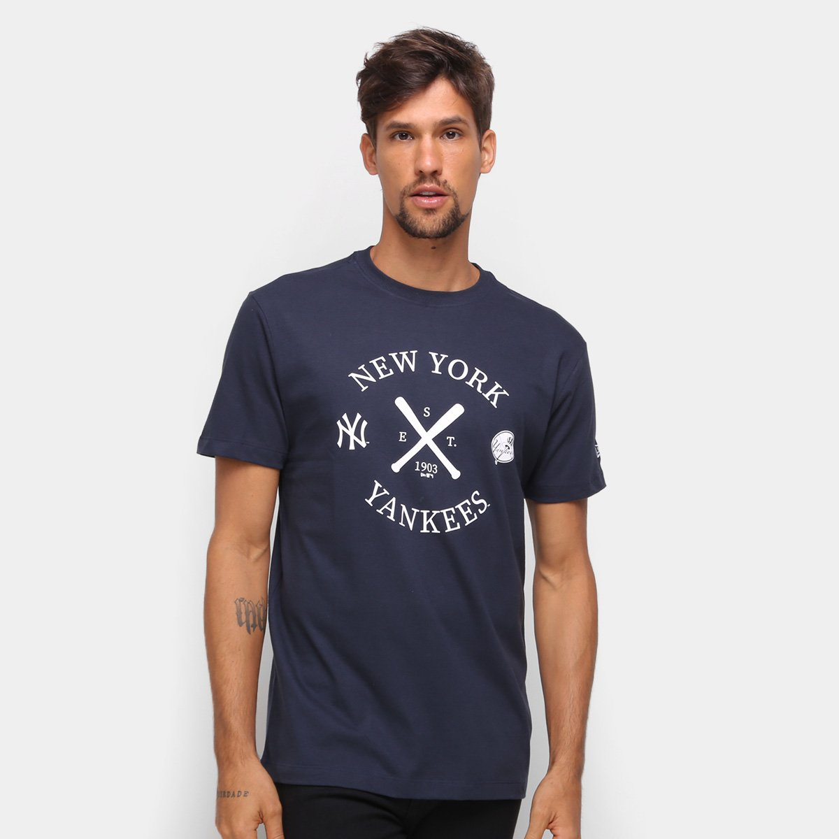 Camiseta MLB New York Yankees New Era College Bat Masculina