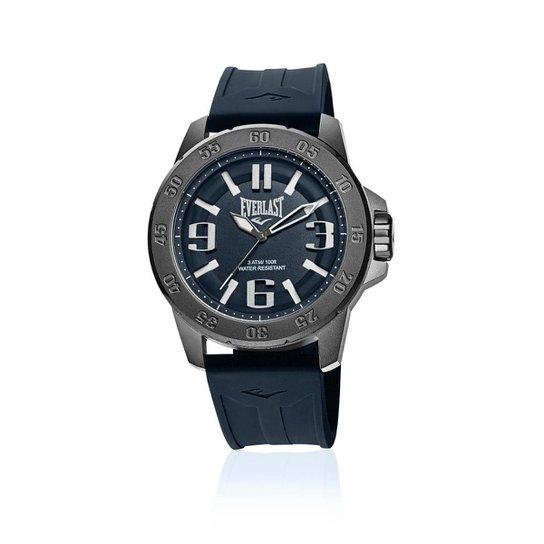 47a86e442be Relógio Pulso Everlast E699 Caixa Aço E Pulseira Silicone - Marinho ...
