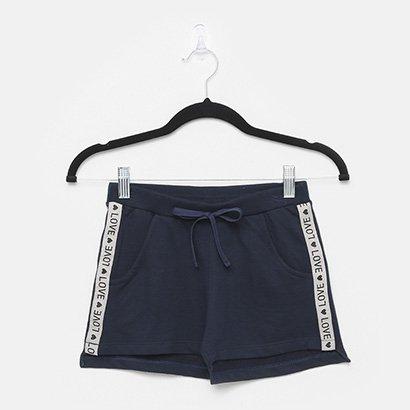 Shorts Infantil Pulla Bulla Moletinho Faixa Lateral Feminino