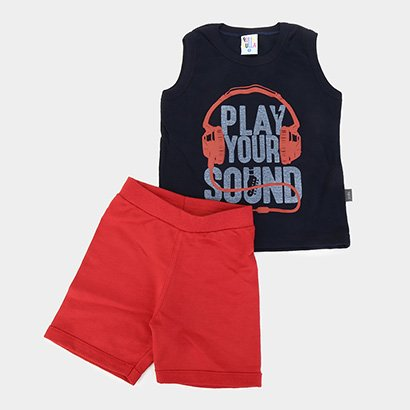 Conjunto Infantil Pulla Bulla Bermuda Moletinho Play Your Sound Masculino