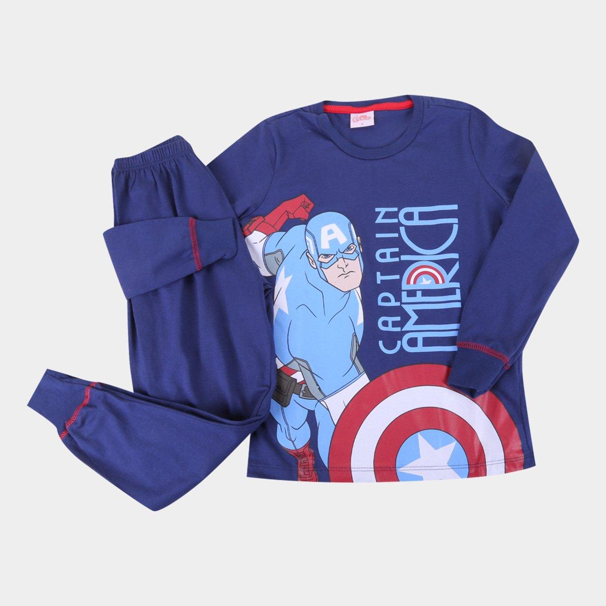Pijama Longo Infantil Evanilda Capitão América Masculino