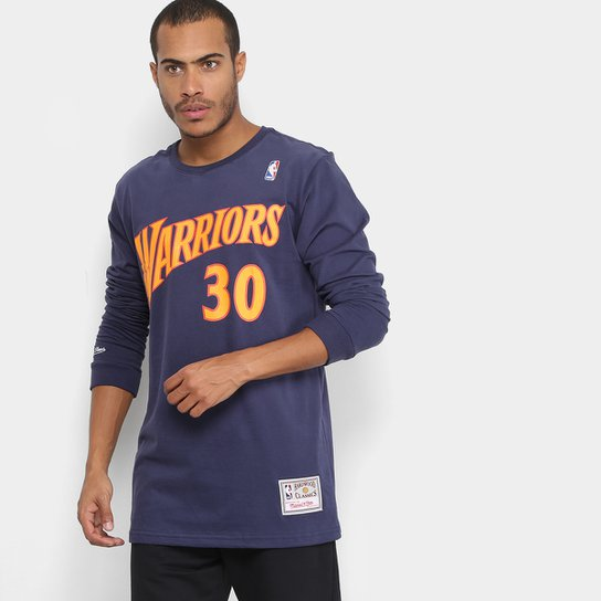 Camiseta NBA Golden State Warriors Mitchell   Ness Manga Longa Stephen Curry  Masculina - Marinho 5bad0969aaf