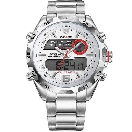 Relógio Weide Anadigi WH-3403 - Branco+prata ... 24c5f2231f292