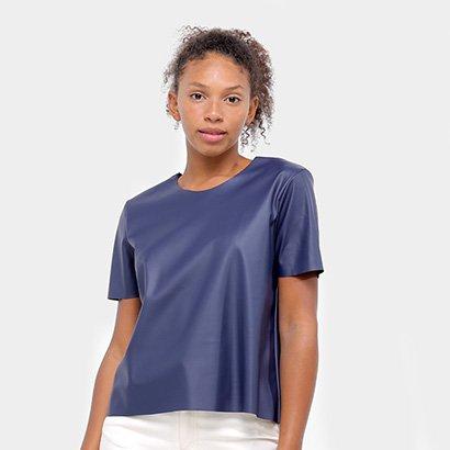 Blusa Aura T-Shirt Couro Feminina