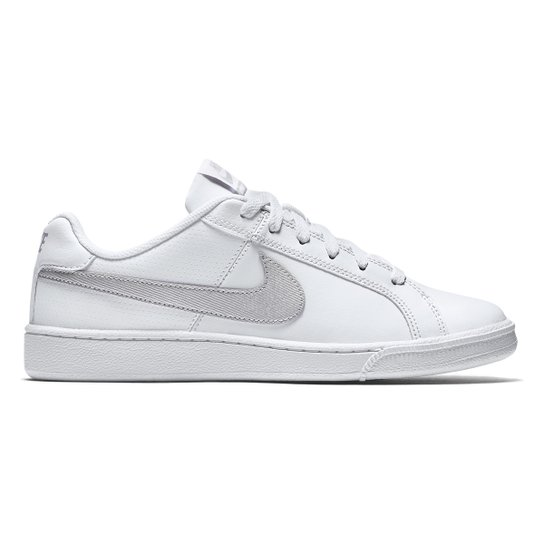 e601ecc288f Tênis Couro Nike Court Royale Feminino - Branco e prata - Compre ...