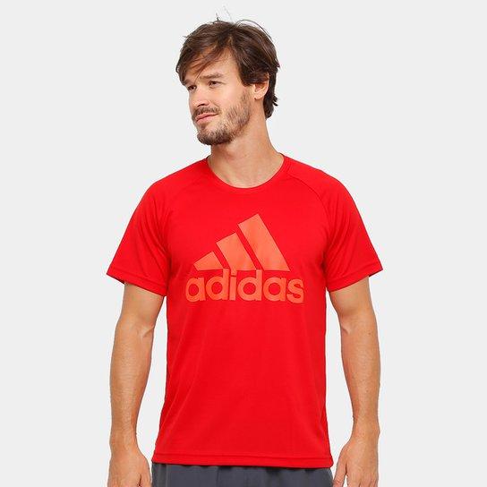 Camiseta Adidas M2M Logo Masculina - Vermelho e Laranja - Compre ... 8a8eb4b7062b1
