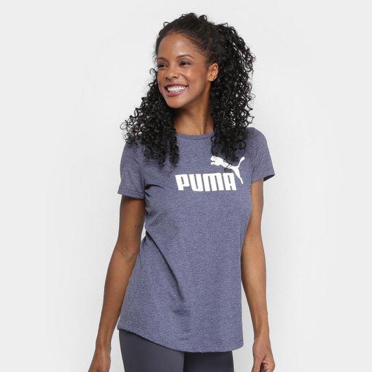56ec7adbea Camiseta Puma Ess+ Logo Heather Feminina - Marinho - Compre Agora ...
