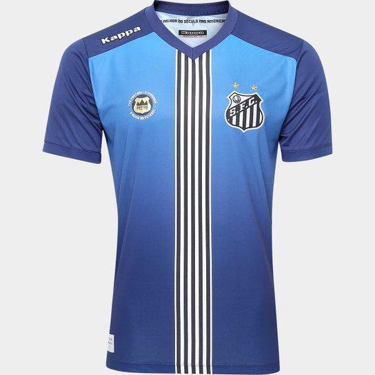 Camisa Santos III 2016 s nº Torcedor Kappa Masculina - Azul+Marinho a3c6a57fe0b91