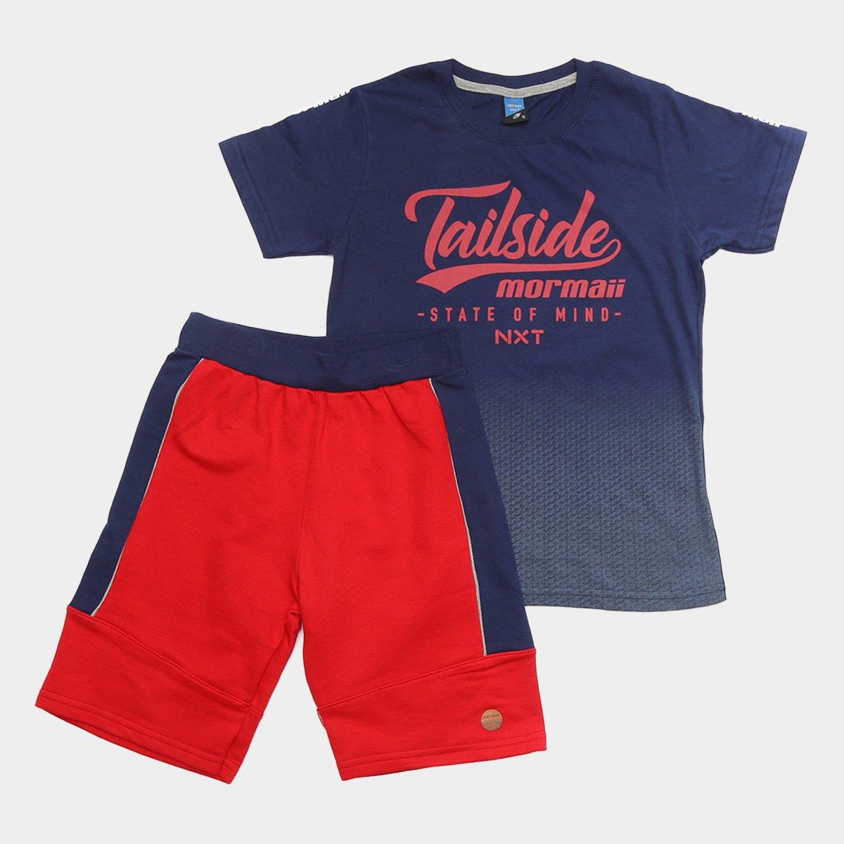 Conjunto Juvenil Mormaii NXT Tailside Camiseta + Bermuda Masculino